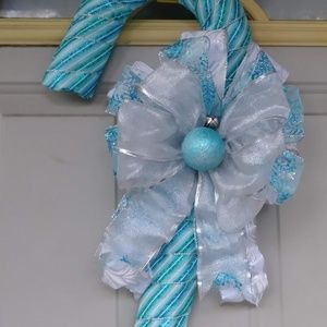 Ribbon wrapped candy cane wreath